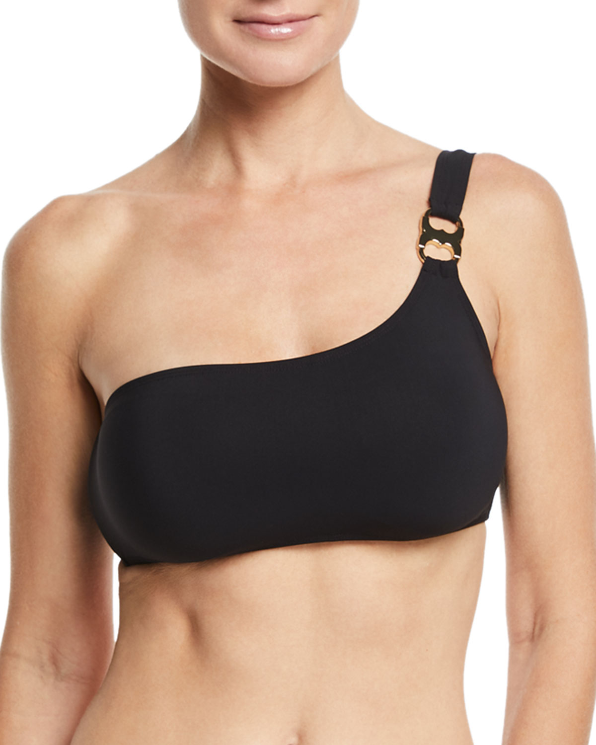 Gemini-Link One-Shoulder Solid Swim Top