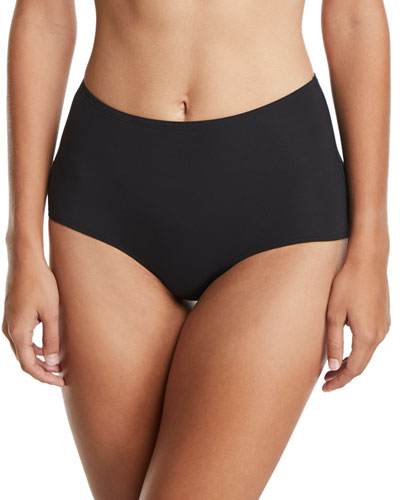 High-Waist Solid Swim Bottoms