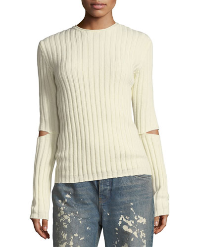 Helmut Lang Re-Edition Crewneck Ribbed Elbow-Cutout Sweater