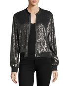 Zaylee Zip-Front Sequined Bomber Jacket
