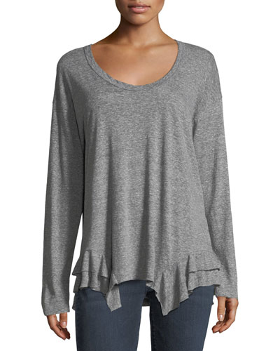 The Tier Scoop-Neck Long-Sleeve Top