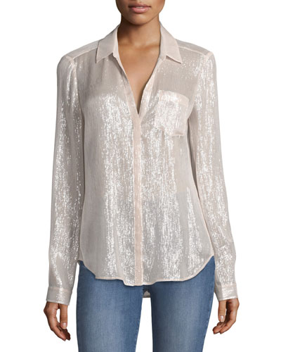 Everleigh Metallic Silk Blouse