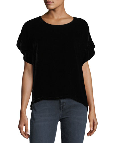 The Janie Crewneck Velvet Top