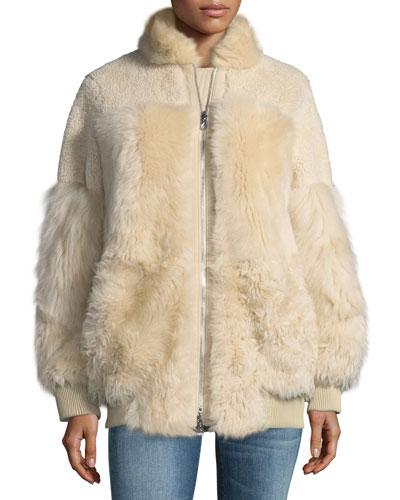Zip-Front Reversible Shearling Patchwork Coat