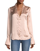 Toscani Button-Front Satin Blouse