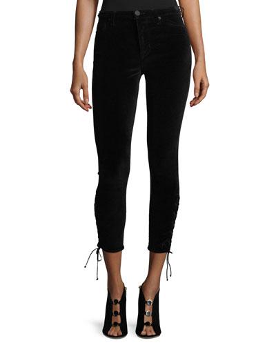 Nix High-Rise Lace-Hem Cropped Velveteen Pants