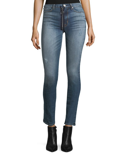 Lexi High-Rise Zip-Front Skinny-Leg Jeans