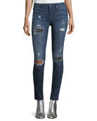 Halle Distressed Skinny-Leg Jeans with Studs