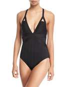 Fine Line Plunge-Neck One-Piece Swimsuit