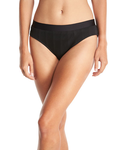 ATHENA Fine Line Banded Hipster Swim Bikini Bottom in Black