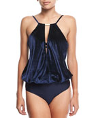 Halter Draped-Keyhole Velvet Tankini Swim Top
