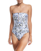 Prowl Strapless Bandeau Printed Maillot One-Piece Swimsuit