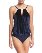 Velvet Keyhole Maillot One-Piece Swimsuit