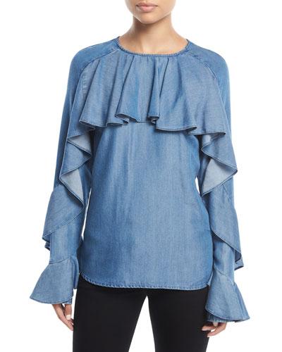 Mia Cotton Chambray Shirting Blouse