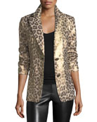 Leopard-Print Coated Blazer, Petite