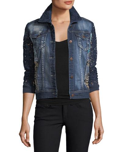 Blues Temptation Lace & Denim Jacket, Plus Size