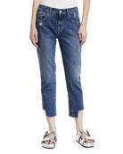 Gemma Mid-Rise Distressed Straight-Leg Crop Jeans