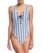 Tie-Dye Stripe One-Piece Swimsuit