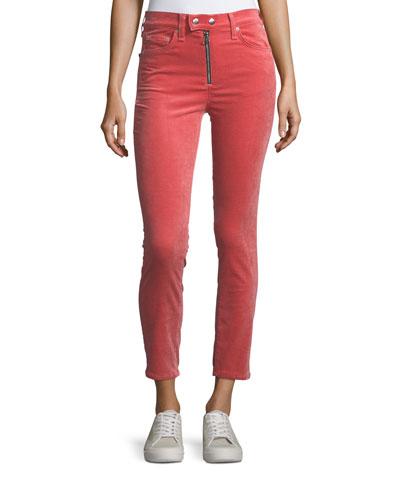 Dojo High-Rise Stretch-Velvet Cigarette-Leg Jeans