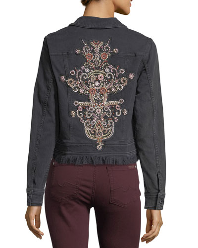 Cropped Button-Front Denim Jacket with Baroque Applique
