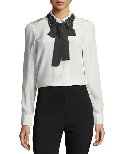 lace collar silk self-tie bow shirt
