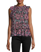 tapestry chiffon sleeveless ruffle top