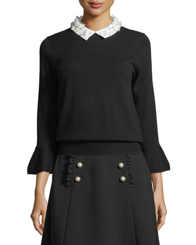 pearly collar bell-cuff sweater