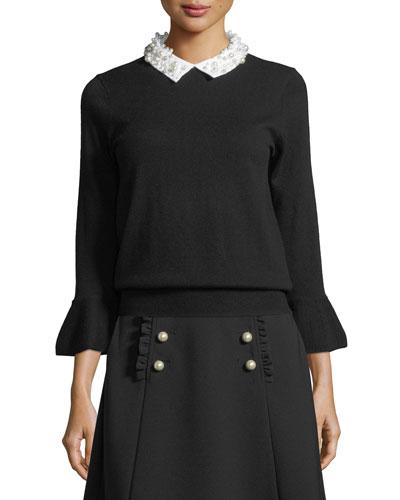 pearly collar bell-cuff sweater