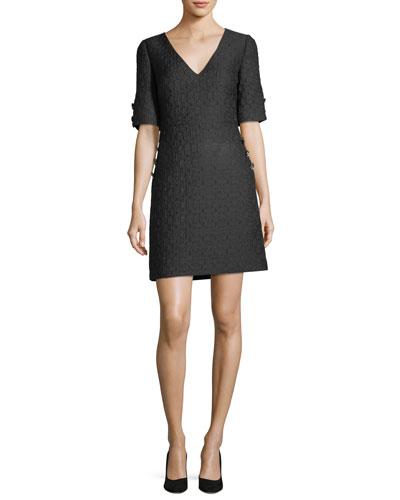 V-Neck Brocade Jewel-Button Dress