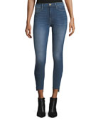 Le High Skinny-Leg Raw-Edge Stagger-Hem Jeans