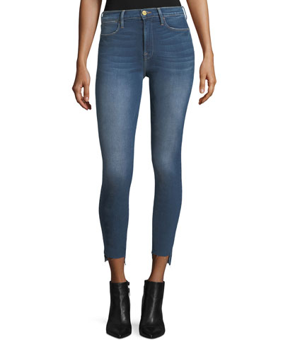 Le High Skinny-Leg Raw-Edge Stagger-Hem Jeans