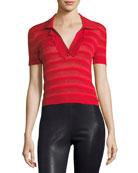 Martha Ruffle-Placket Crop Polo Shirt