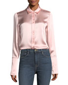 Button-Front Silk Satin Blouse