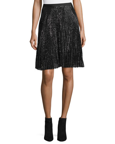 Jadian Pleated Sequin A-Line Skirt