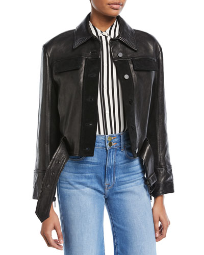 Button-Front Paneled Leather Moto Jacket