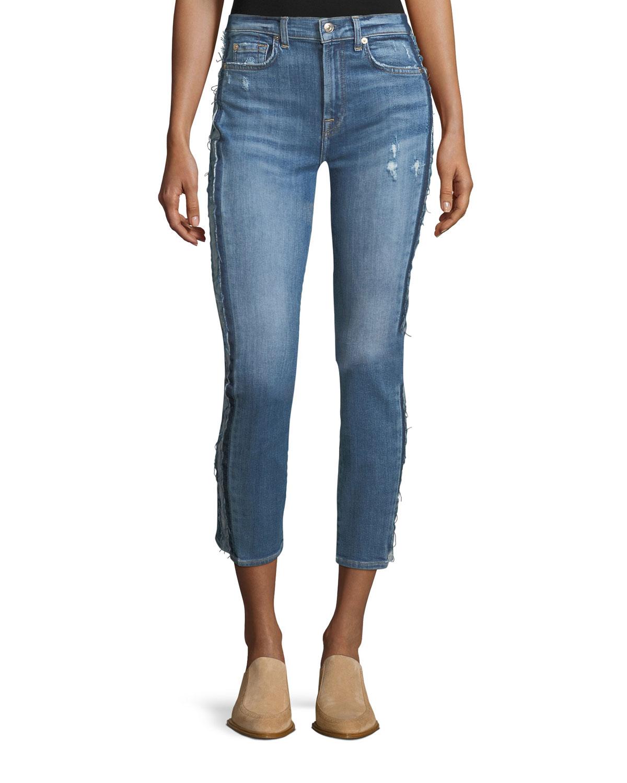 Roxanne Ankle Skinny-Leg Jeans w/ Frayed Tux Stripe