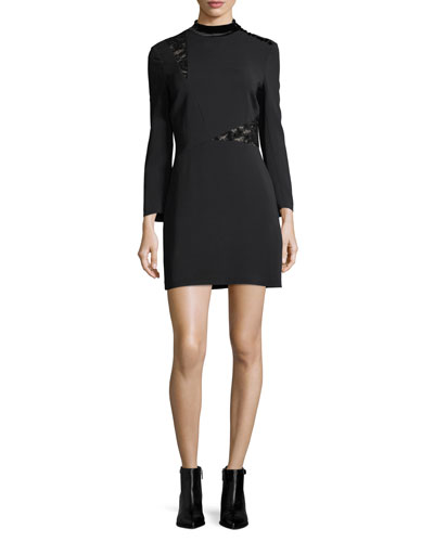 Alix Mock-Neck Long-Sleeve Crepe Mini Dress