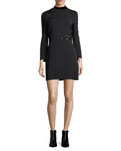 Alix Mock-Neck Long-Sleeve Crepe Mini Dress