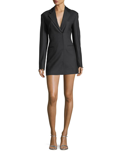 Notched-Lapels Herringbone Blazer Dress