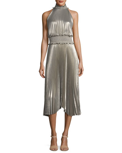 Kravitz High-Neck Sleeveless Metallic Pleated Midi Dress