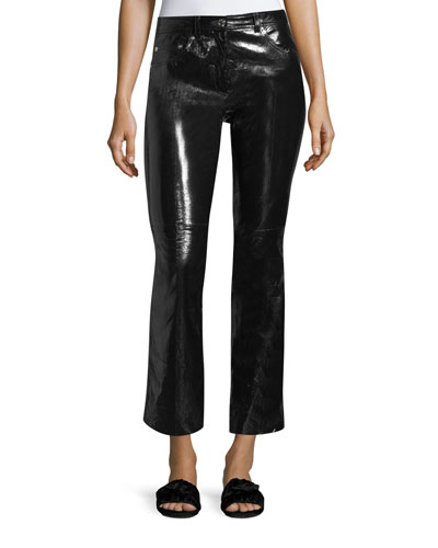 Patent Leather Flared-Leg Crop Pants