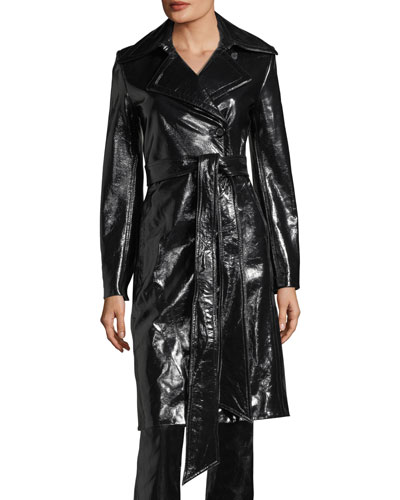 Pleasure Patent Leather Belted Trench Coat, Black