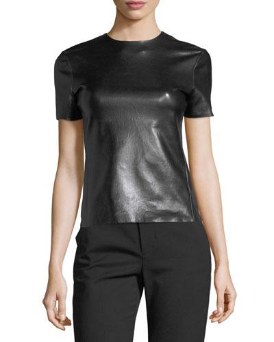 Crewneck Short-Sleeve Leather T-Shirt
