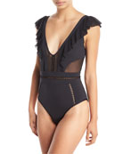 Fanciful Plunge Solid One-Piece Swimsuit