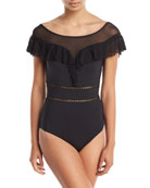 Fanciful Off-the-Shoulder One-Piece Swimsuit with Mesh