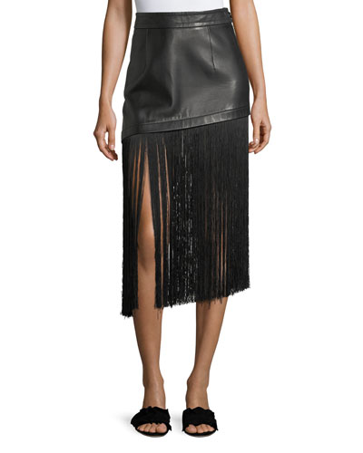 A-Line Leather Mini Skirt with Long Fringe Hem