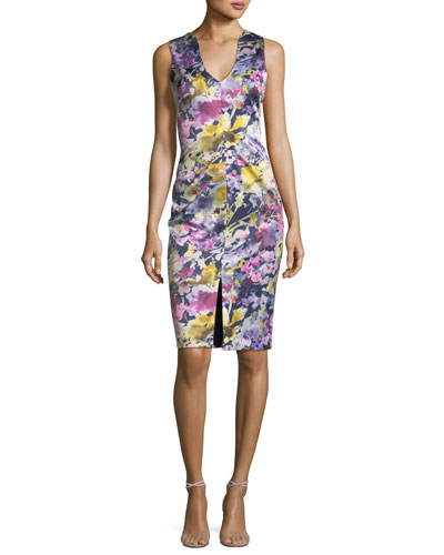 Coral Sleeveless Floral-Print Sheath Dress