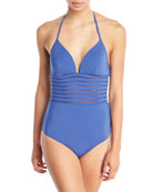 Parallels Striped-Mesh Solid One-Piece Swimsuit