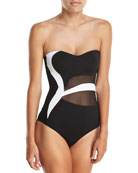 Classique Sweetheart Bandeau Colorblocked One-Piece Swimsuit
