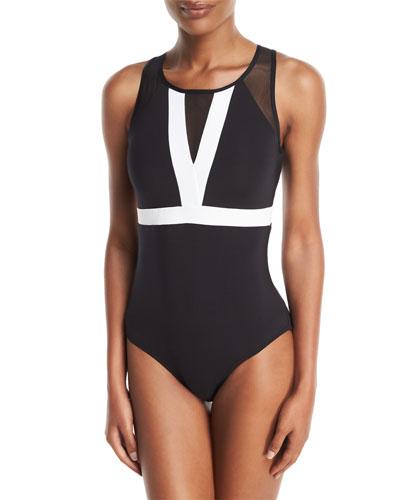 Classique High-Neck Colorblocked Open-Back One-Piece Swimsuit